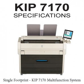 "KIP 7170 Multifunction System (print/copy/scan)  2 roll printer, B&W 36"" wide format printer with integrated scan system."