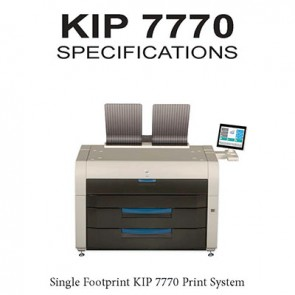"KIP 7770 Print System 2 or 4 roll printer, B&W 36"" wide format printer, 600x2400 dpi"